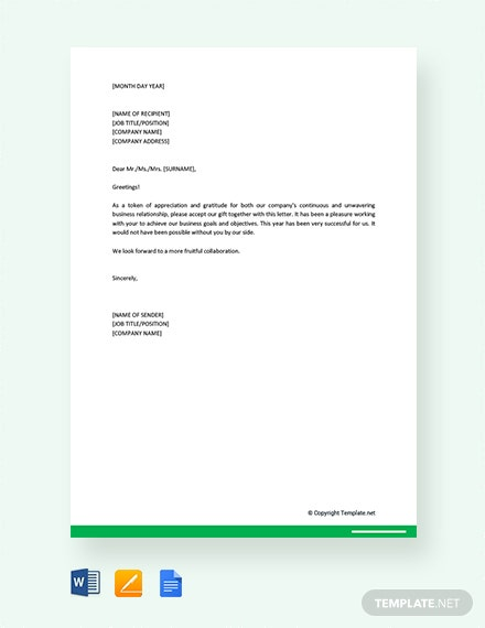 Free Corporate Gift Letter