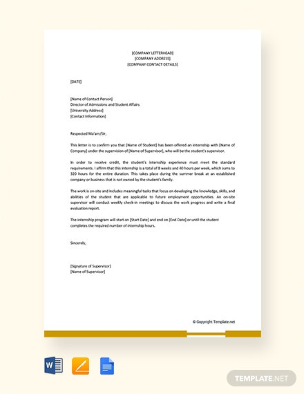 Free Internship Acceptance Letter from Company to University