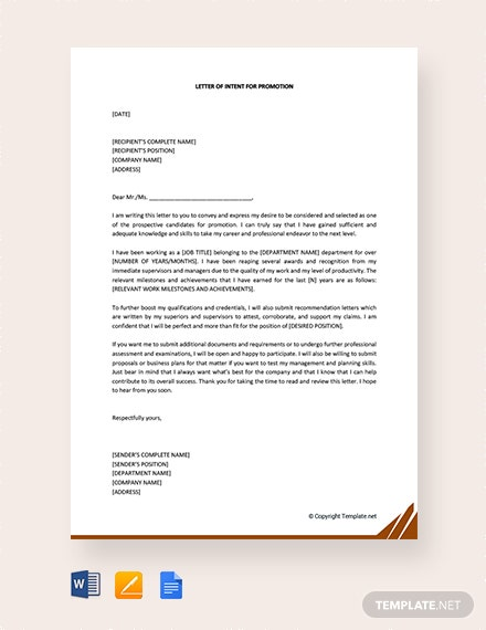 Free Letter of Intent for Promotion