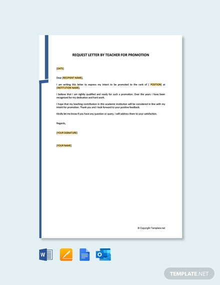 Free Letter of Intent for Promotion of Teacher