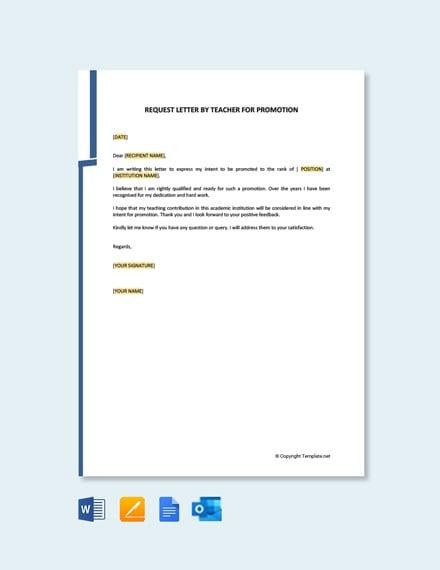 Letter of Intent for Promotion of Teacher