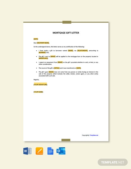 Free Mortgage Gift Letter Template