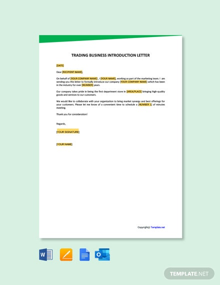 Free Trading Business Introduction Letter