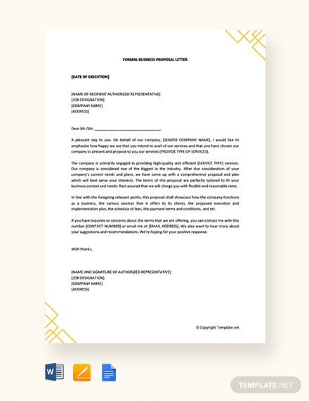 Free Formal Business Proposal Letter