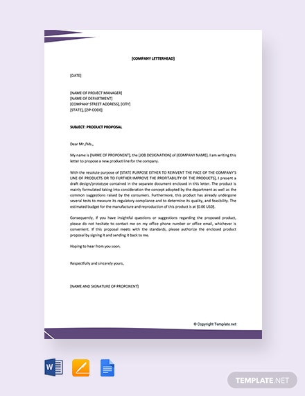 Free Product Proposal Letter