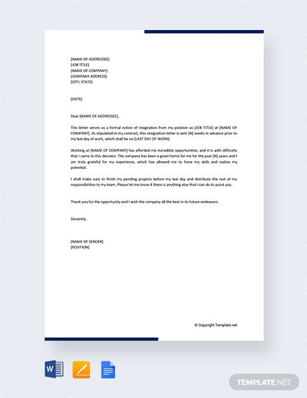 Free Formal Resignation Letter with Notice Period