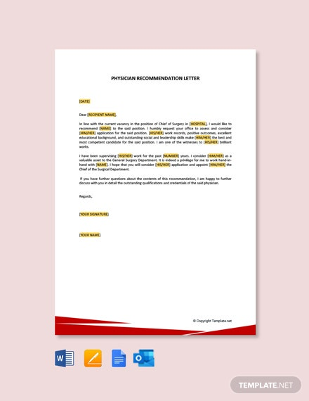 Free Physician Recommendation Letter