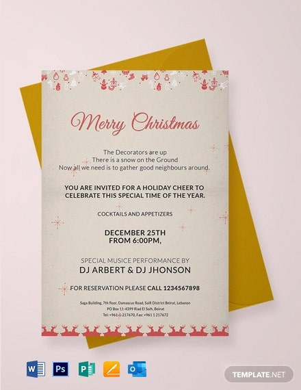 Free Merry Christmas Invitation Template