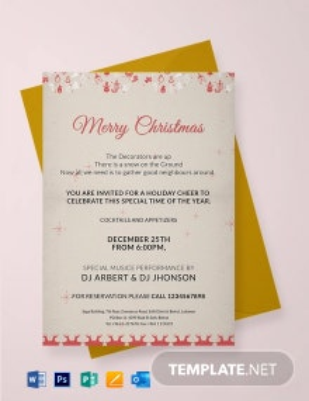 Free Merry Christmas Invitation Template