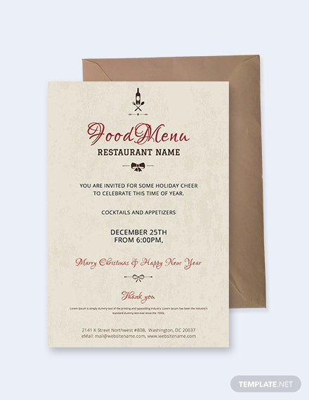 Free Christmas Restaurant Party Invitation Template Download 344