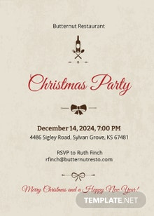 Free Christmas Restaurant Party Invitation Template