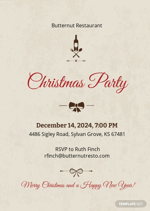 Christmas Restaurant Party Invitation Template