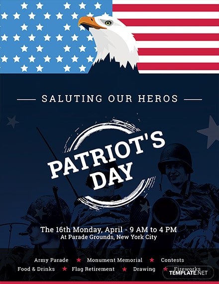 Free Patriot's Day Flyer Template