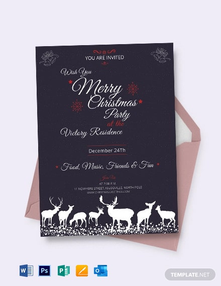 Free Chalkboard Christmas Invitation Template