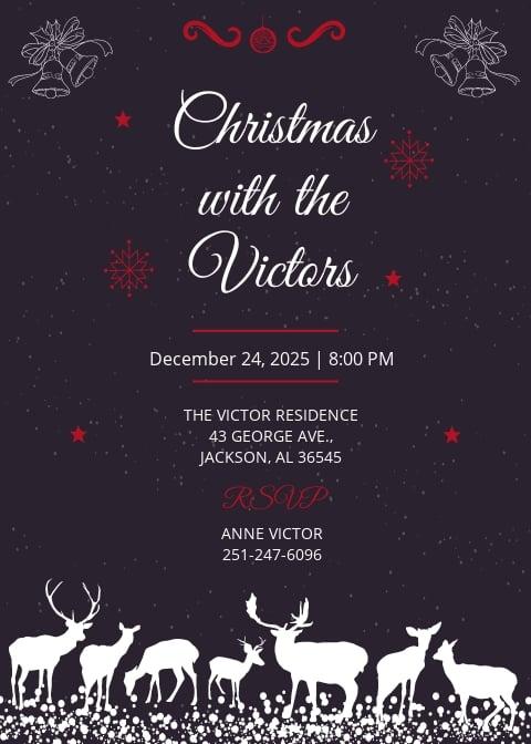 Chalkboard Christmas Invitation Template