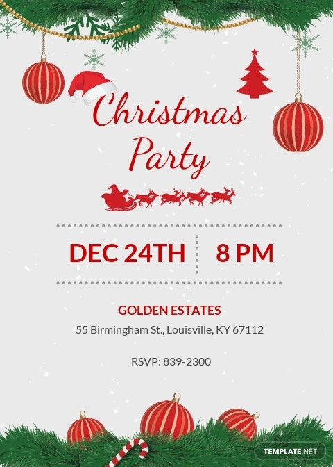 Free Merry Christmas party Invitation Template.jpe