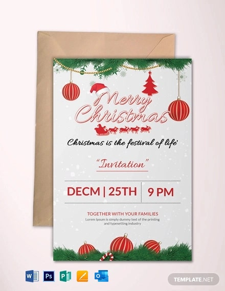 Free Merry Christmas party Invitation Template