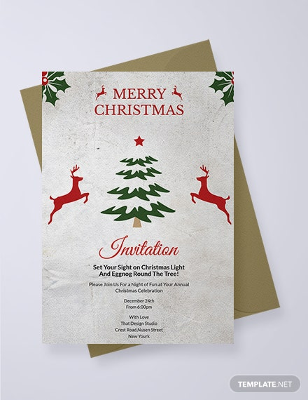Free Elegant Christmas Invitation Template