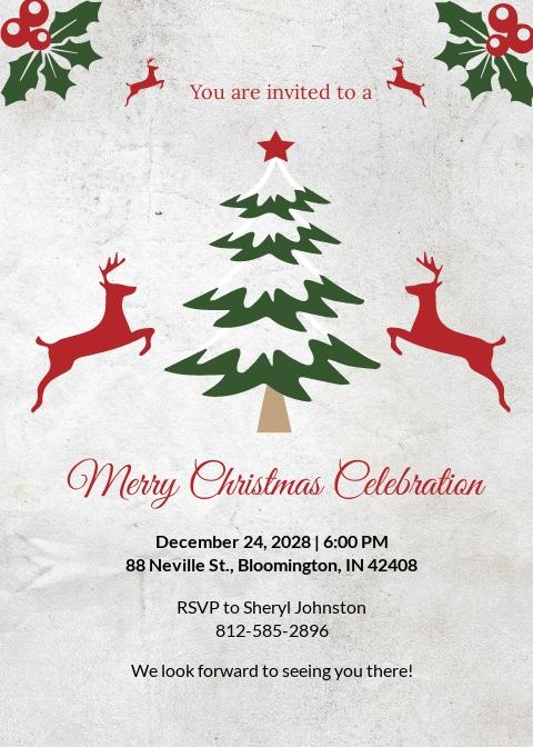 Free Elegant Christmas Invitation Template