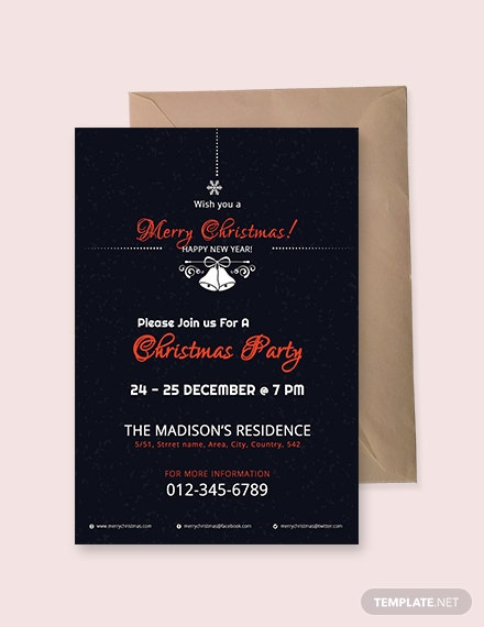 Free Modern Christmas Invitation Template