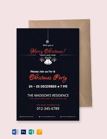 Free Modern Christmas Invitation Template