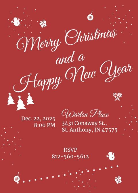 Retro Christmas Invitation Template