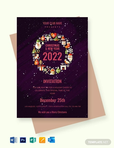 Free Christmas and New Year Invitation Template