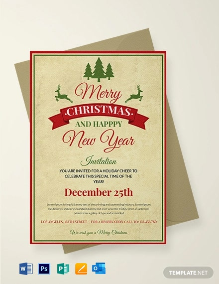Free Vintage Christmas Invitation Template