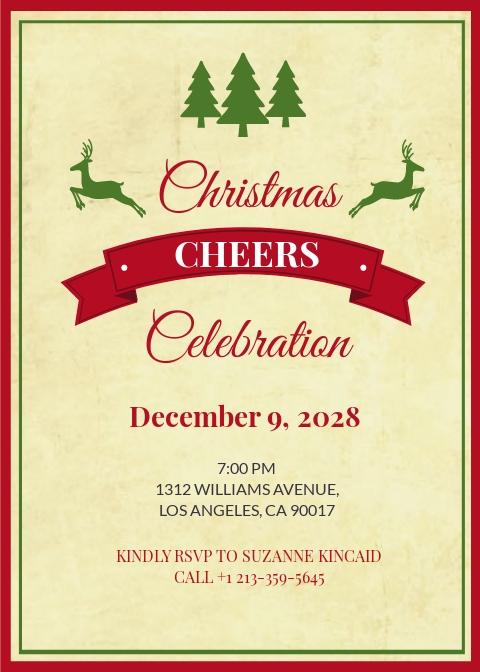Free Vintage Christmas Invitation Template.jpe
