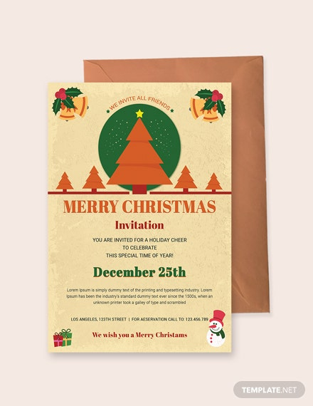 Free Christmas Holiday Invitation Template