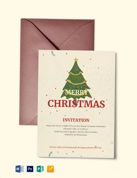 Free Elegant Merry Christmas Invitation Template