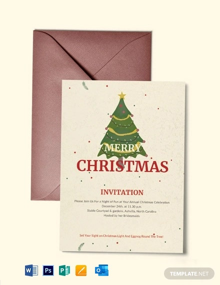 Free Elegant Merry Christmas Invitation Template