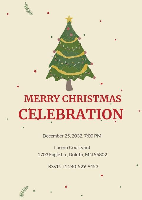 Elegant Merry Christmas Invitation Template