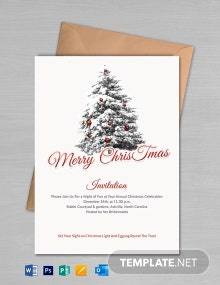 Free Simple Merry Christmas Invitation Template