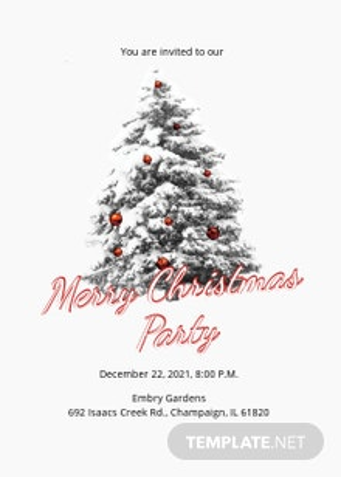 Free Simple Merry Christmas Invitation Template