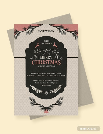 free merry christmas and new year invitation template