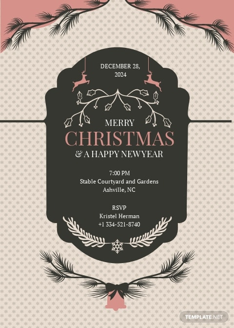 Merry Christmas and New Year Invitation Template