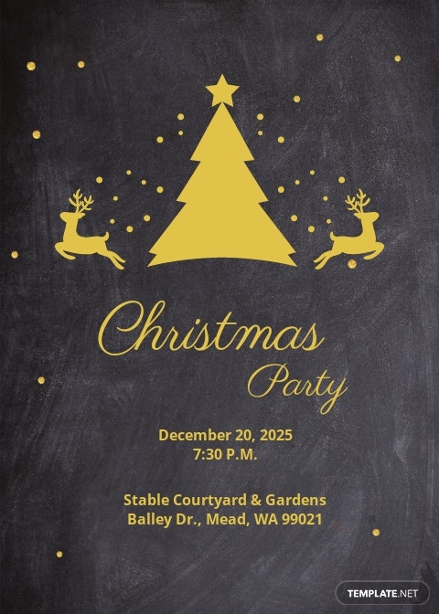 Chalkboard Christmas Party Invitation Template