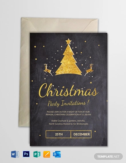 Free Chalkboard Christmas Party Invitation Template