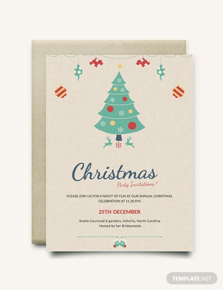 Free Modern Christmas Party Invitation Template