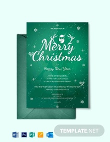 Free Modern Merry Christmas Invitation Template