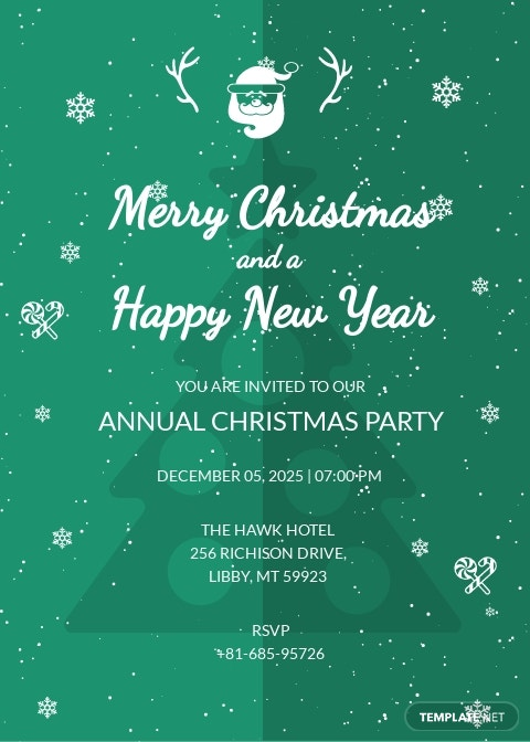 Modern Merry Christmas Invitation Template