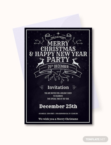 Free Vintage Merry Christmas Invitation Template