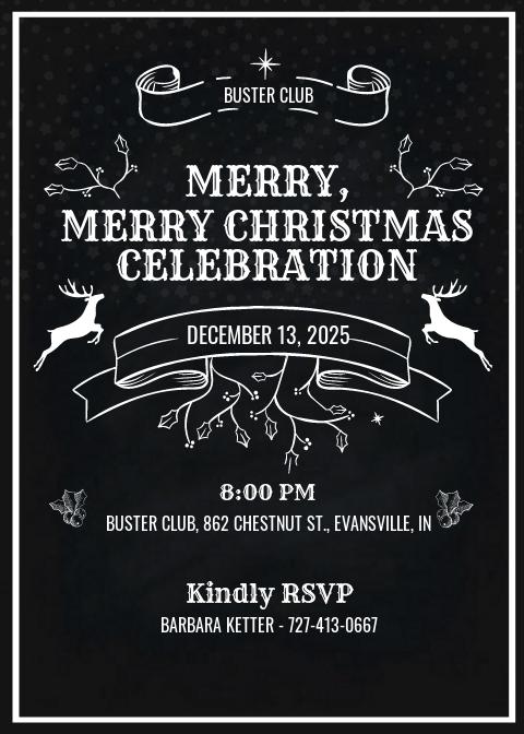 Vintage Merry Christmas Invitation Template