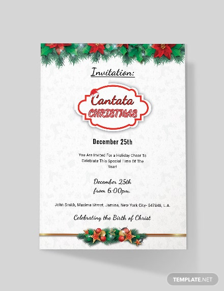 free cantata christmas invitation template  download 884
