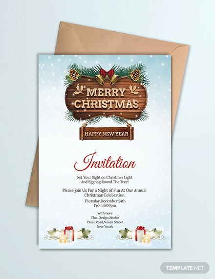 Free Merry Christmas and New Year party Invitation Template