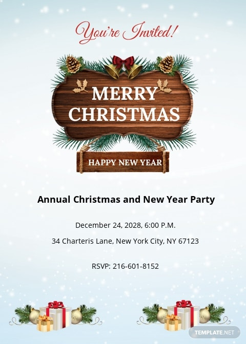 Merry Christmas and New Year party Invitation Template