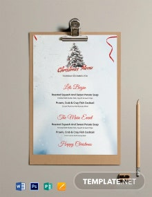 Free Simple Christmas Menu Template