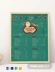Free Christmas Bakery Menu Template