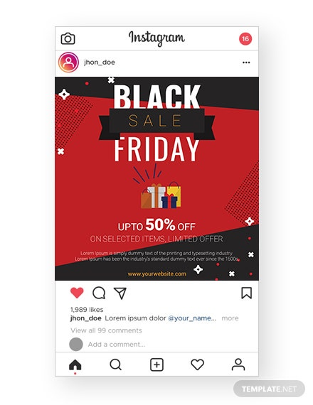 Black Friday Sale Instagram Template  - PSD